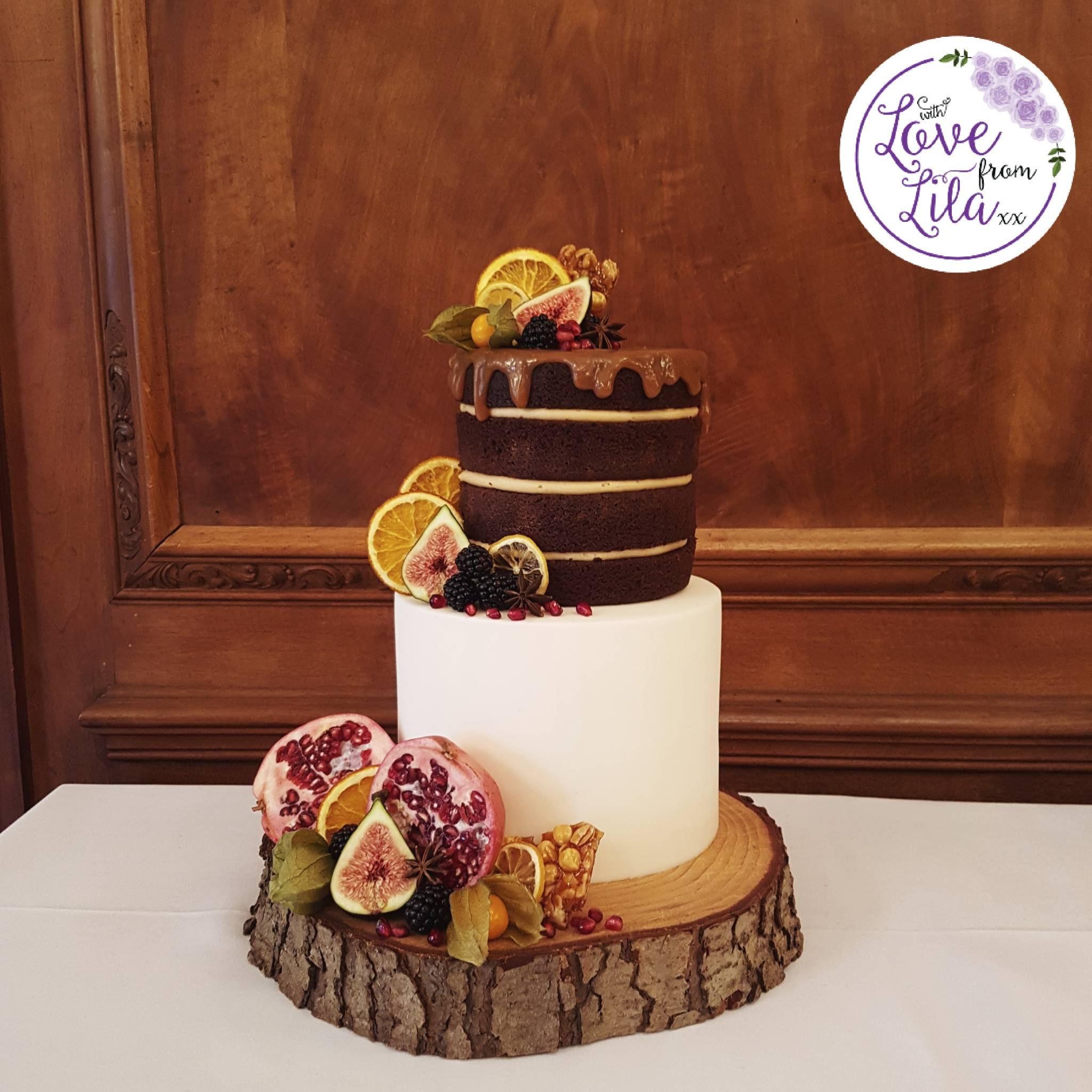 Love from lila xx - Naked Winter Wedding Cake