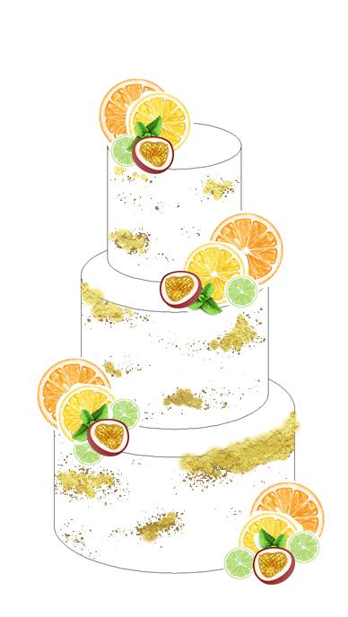 Citrus Summer Wedding Cake Design - Surrey - Love from Lila