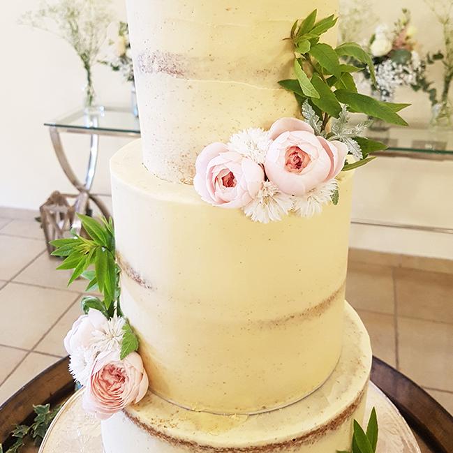 Summer Wedding Cake Design with Flowers - Rivervale Barn, Yateley, Farnham, Surrey - Love from Lila