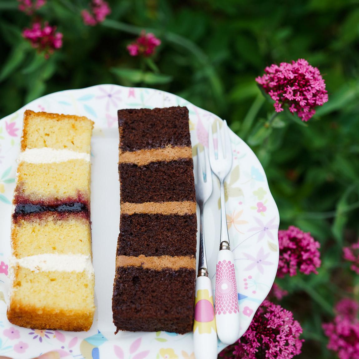 Vanilla and Chocolate Wedding Cake Slices on Plate