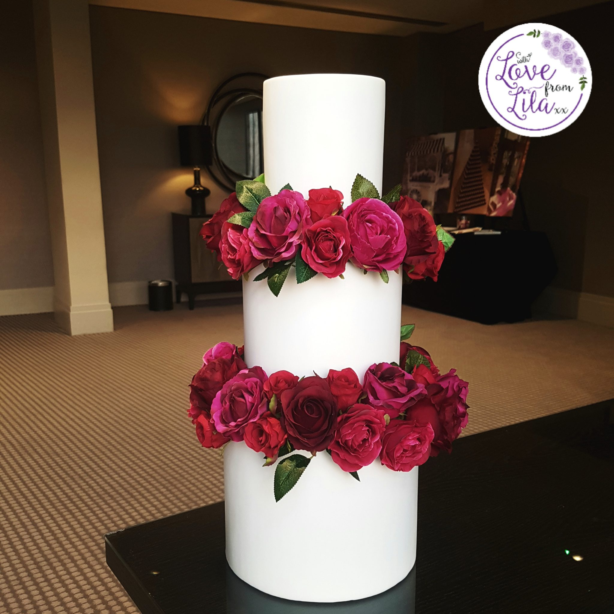 Love from lila xx - Luxury Wedding Cake at the Aviator Hotel Farnborough