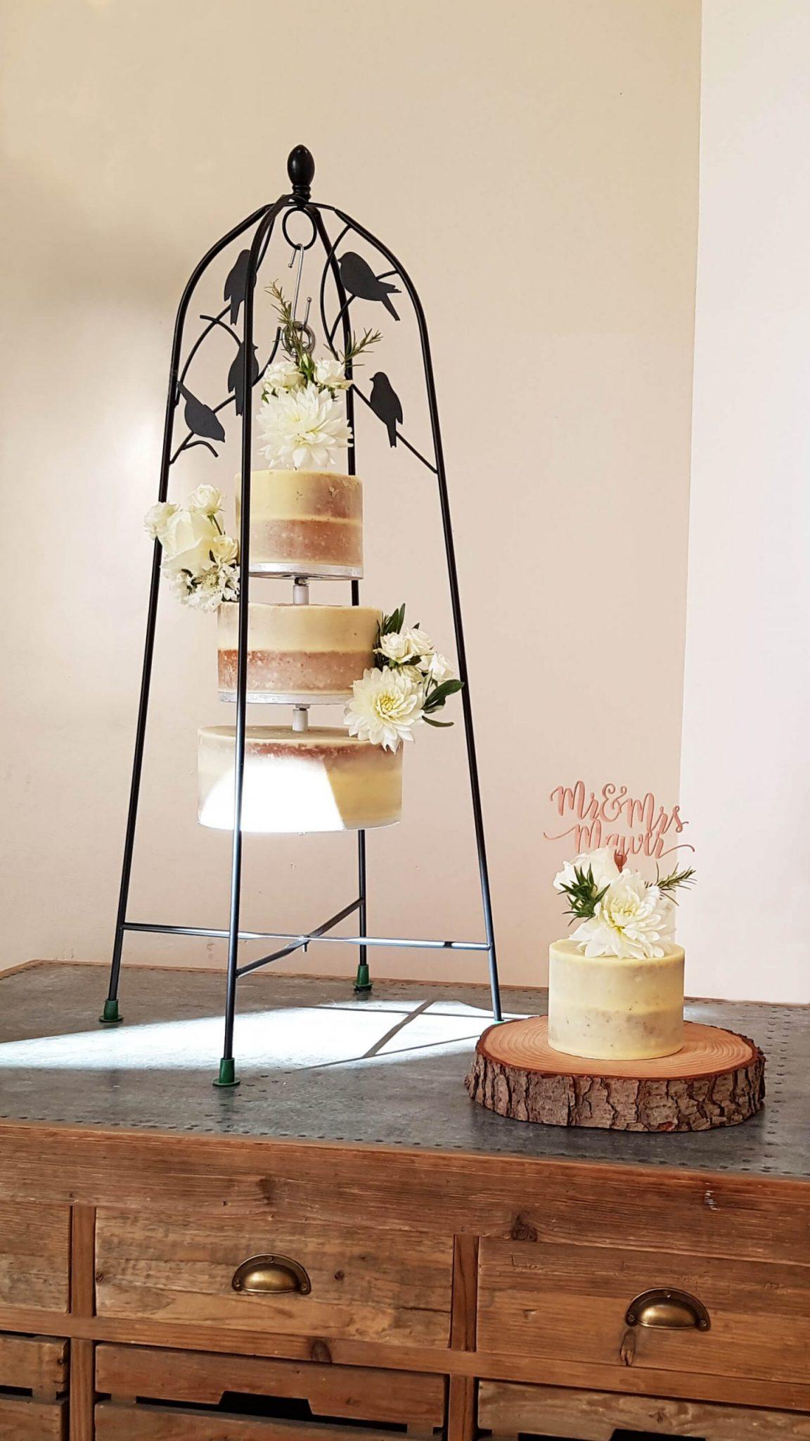 Hanging Wedding Cakes in Surrey - Semi-Naked Wedding Cakes - Millbridge Court - Farnham - Love from Lila