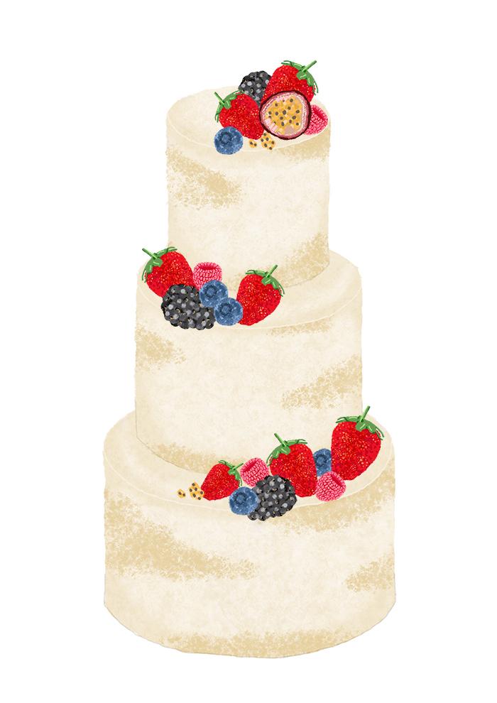 Cheap Wedding Cake - Summer Semi Naked Cake Hampshire - Love from Lila