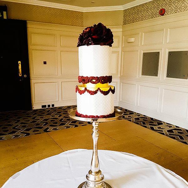 Gold Leaf Burgundy Wedding Cake - Pennyhill Park, Camberley, Surrey - Love from Lila