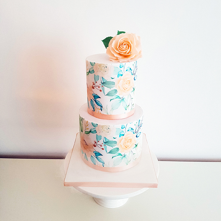 Painted Wedding Cake - Surrey, Hampshire, Sussex - Love from Lila
