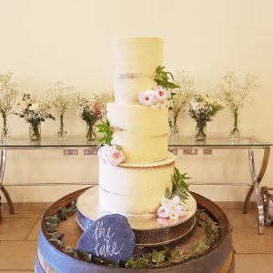 Semi-Naked Wedding Cake with Flowers - Rivervale Barn, Yateley, Hampshire - Love from Lila