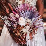 Purple and White Dried Flower Arrangement