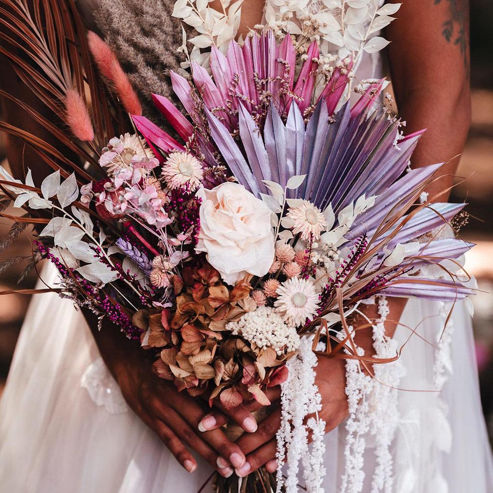 Purple and White Dried Flower Arrangement