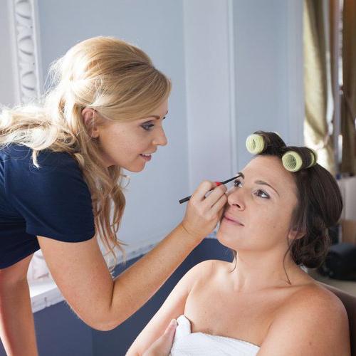 Make-Up Artist Applying Make-Up to Bride