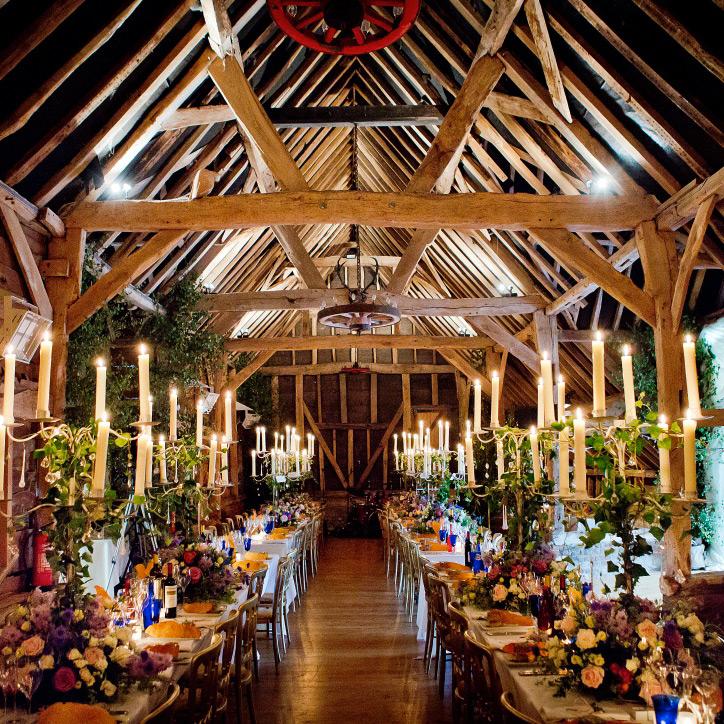 Modern Barn Wedding Tables Set Up