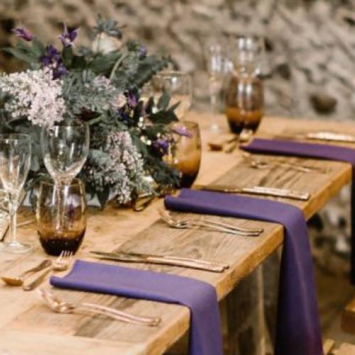 Purple Rustic Wedding Tablescape