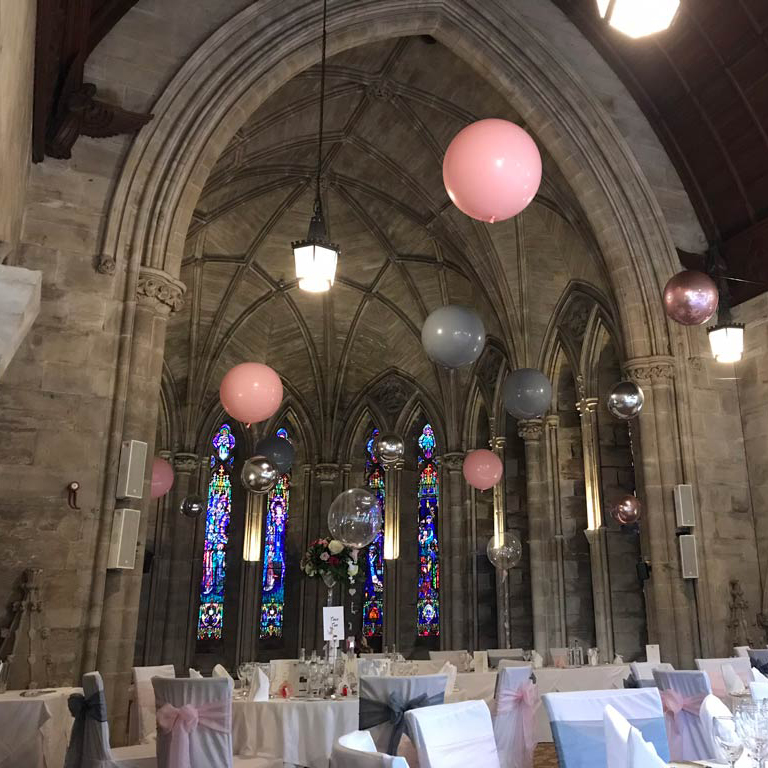 Suspended Ceiling of Pink Balloons