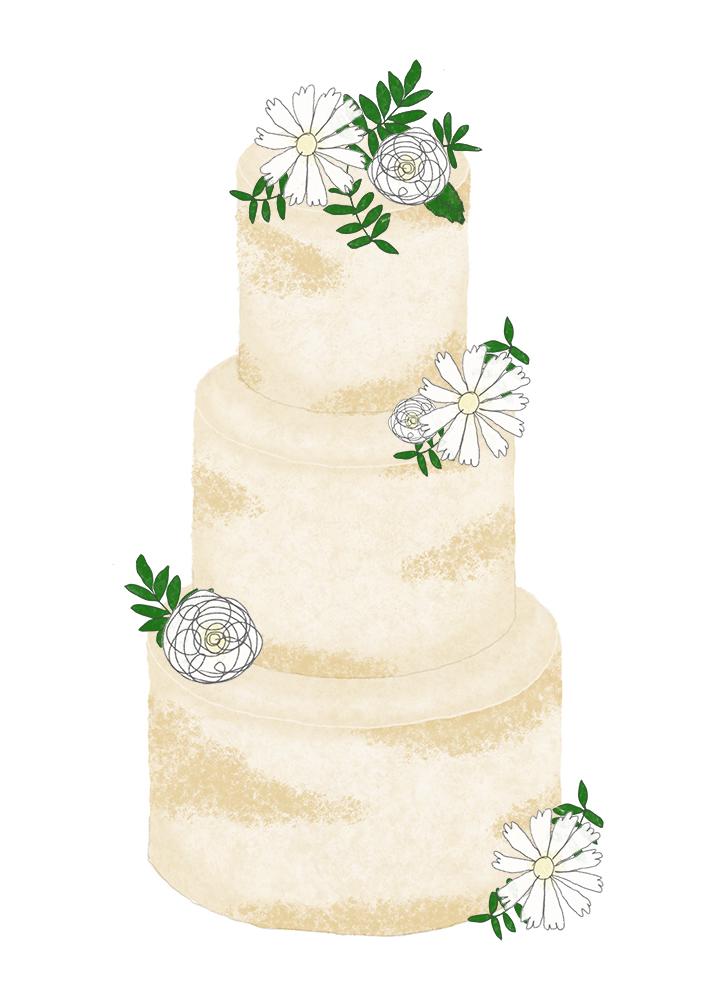 Wedding Cake Sketch - White Flowers with Greenery