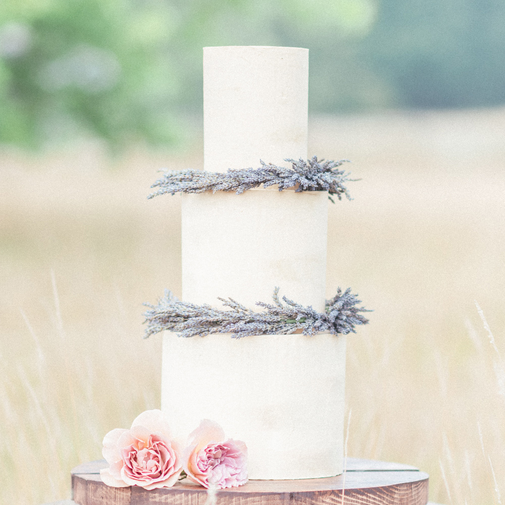 Semi-Naked Wedding Cake with Dried Lavender