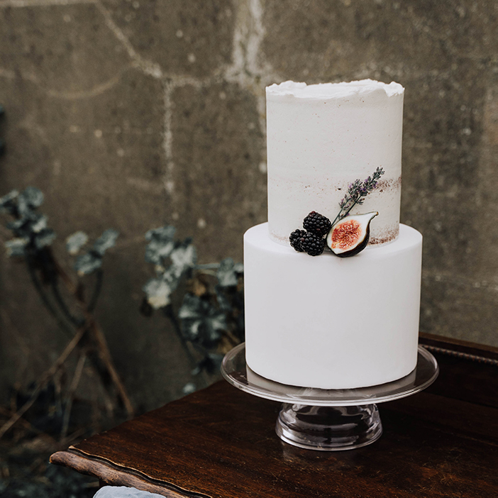 Fondant and Semi-Naked Wedding Cake with Blackberries, Fig and Dried Lavender