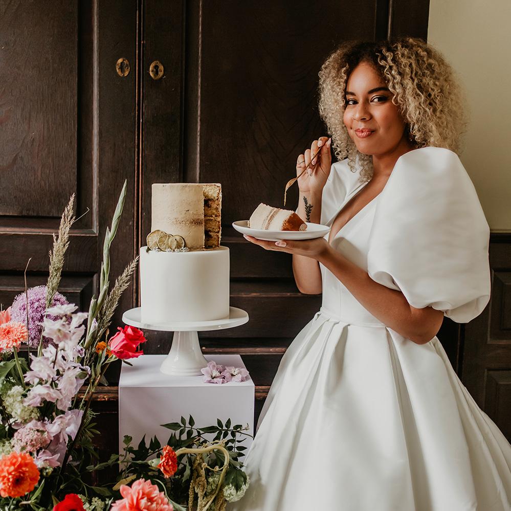Fondant and Semi-Naked Wedding Cake on Plinth with Happy Bride
