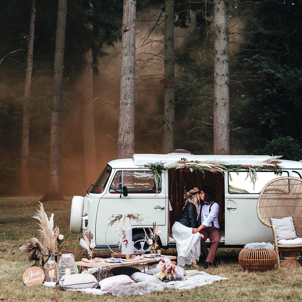 Woodland Wedding Scene with Campervan