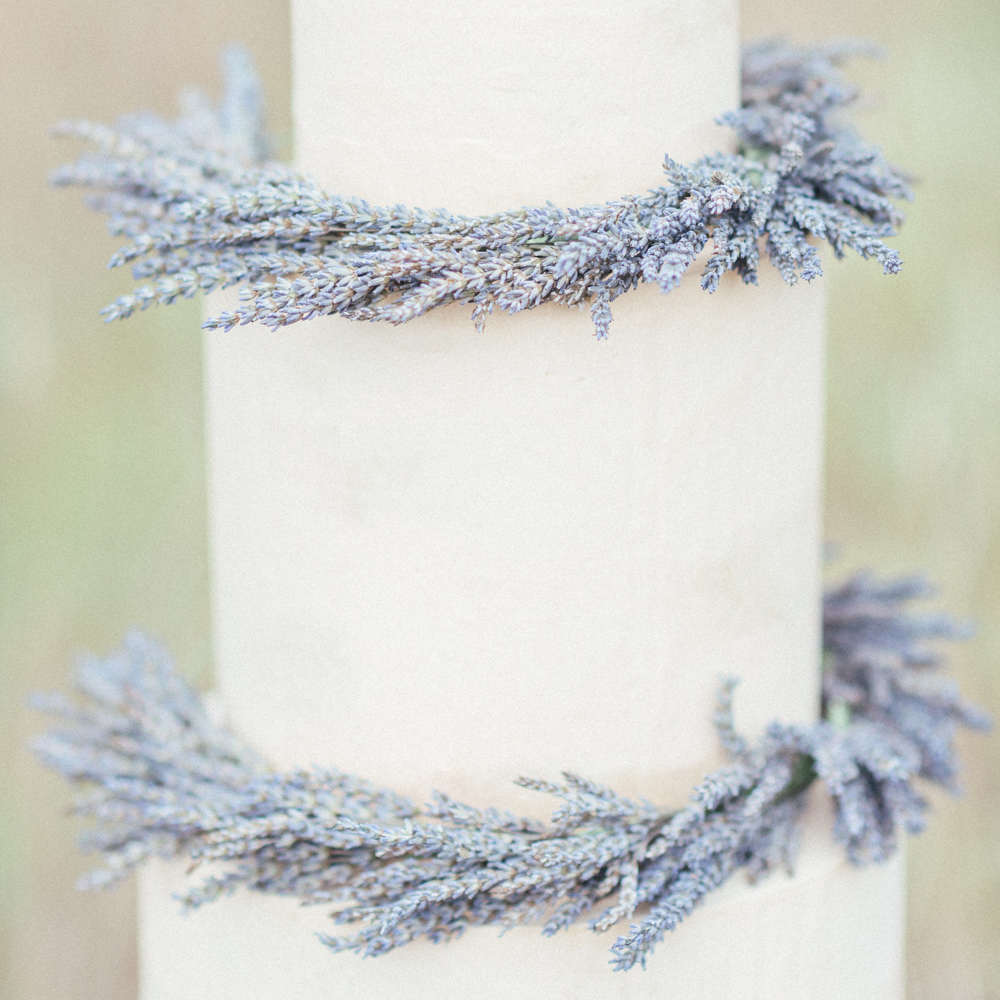 3 Tier Wedding Cake with Lavender Wreaths