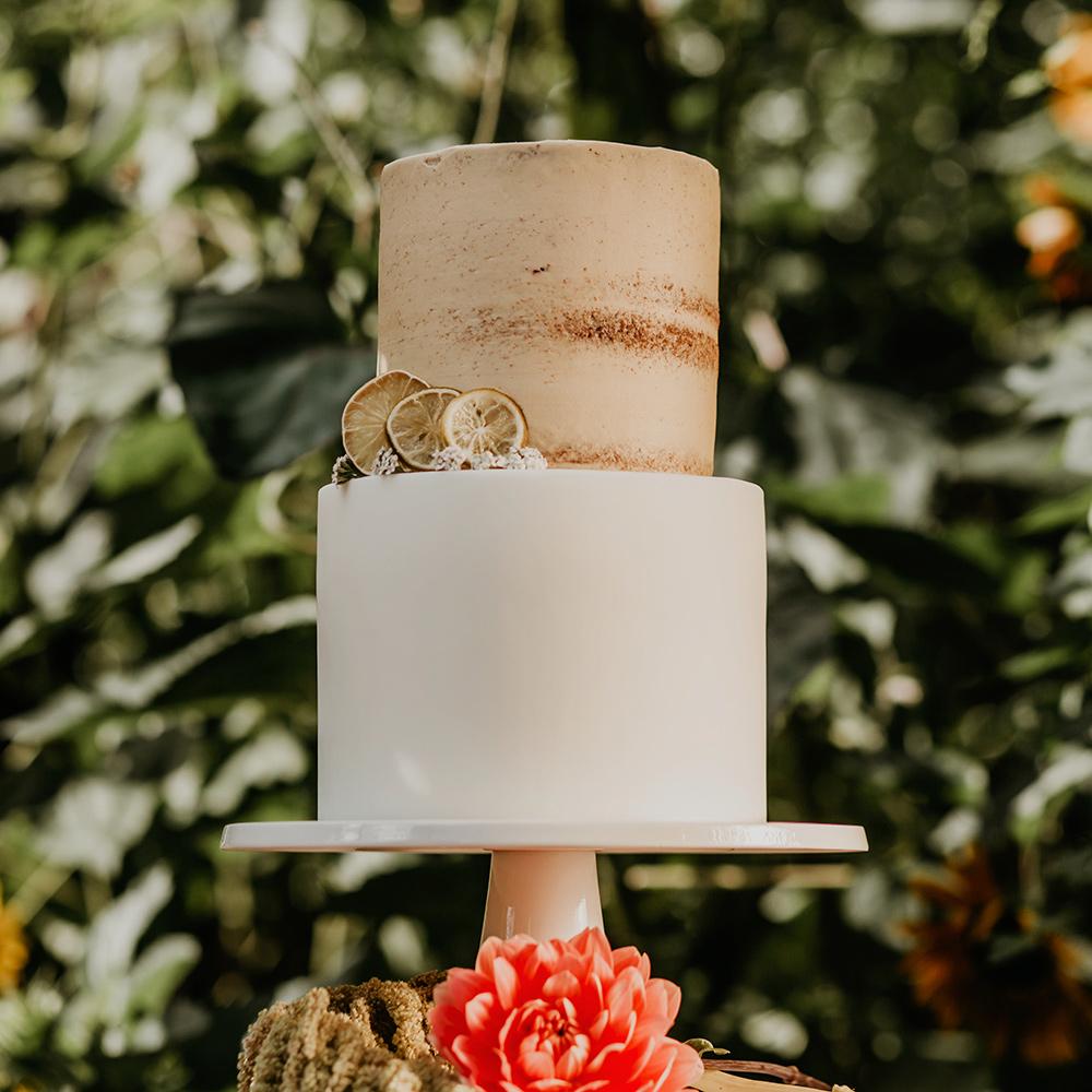 2 Tier Wedding Cake with Fresh Flowers